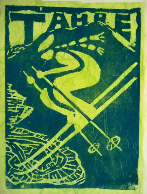 VintageTahoe Downhill Skier 4 x 5 Linocut print