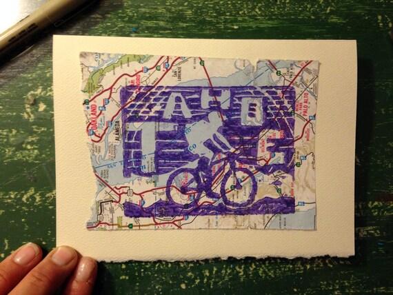 Tahoe Trail 5 x 7 linocut card