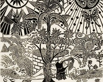 "Unique original linocut print on mulberry paper, mythogical theme, edition 35, #3, 12"" x 12"" : ""Original Garden"