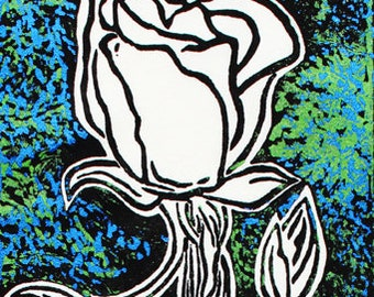 "Unique original lino-cut print on mulberry paper: Stemmed Rose (11 1/2"" x 4"")"