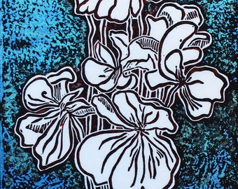 "Unique Linocut overprint on mulberry paper, 13"" x 5 1/2"", hand printed original: Bloom Magic"