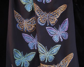Jody Bare original linocut print on black silk scarf: Butterfly Migration motif