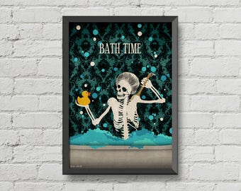 Bath Time Poster Skeletonsskulls Artgothiccutehome Decorwall Decor Bathroom Decorbathroom Signdigital Printvictorian