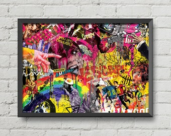 My lovely chaos 2,Original artwork,digital print,art,collage,,retro,vintage poster,wall decor,home decor,colorful