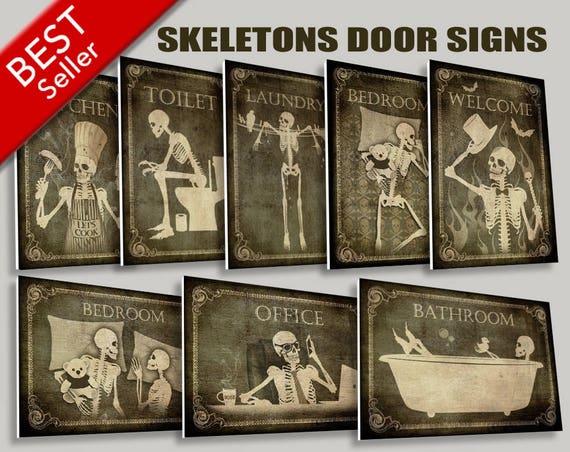 skeletons door signswc signrestroom etsy