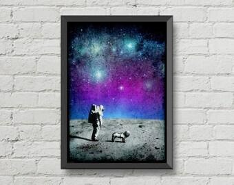 Astronaut walking his dog on the moon,poster,digital print,space,art,moon poster,galaxy,dog,home decor,wall decor