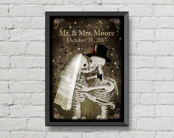 Personalized skeletons wedding poster,custom name and date,bride,groom,skull,skeletons,gothic,Halloween,wedding gift