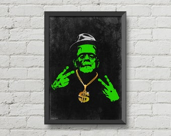 Gangsta Frankenstein,poster,digital print,black,green,yellow,bling bling,horror poster,wall decor,movie poster,man cave art,