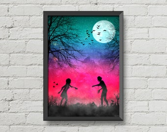 Zombie love,digital print,art,walking dead,skull,artwork,pink,zombies,love,home decor,poster,print,CHRISTMAS