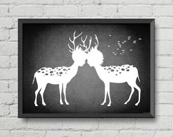I love you my deer,art,digital print,print,black and white,artwork,deer,love,romantic,home decor