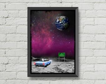 We have a long way to go,poster,earth,digital print,moon,art,space,astronaut,galaxy,artwork,handmade,wall decor,man cave art,