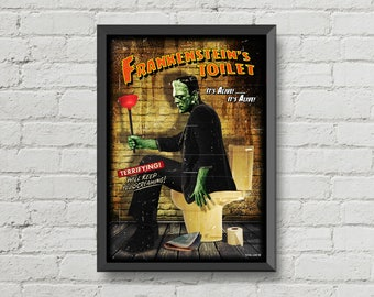Frankenstein Toilet,digital print,poster,vintage,Frankenstein poster,restroom,toilet art,movie poster,toilet decor,bathroom decor,wall art,