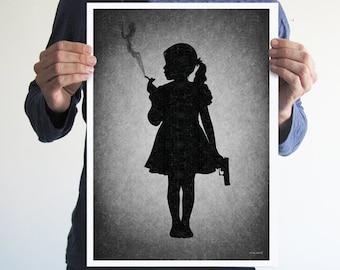 Kids today,girl,digital print,artwork,art,wall decor,home decor,silhouette,black and white,gothic art,victorian,horror,poster,print,skulls