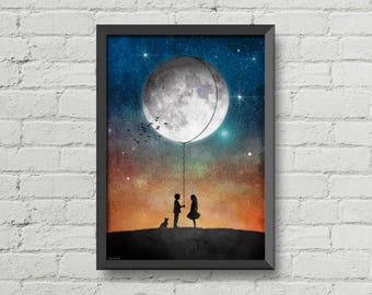 I will give you the moon,poster,romantic,print,art,illustration,inspiration,space,moon,gift,wall decor,birthday idea,orange,boy,girl,dog