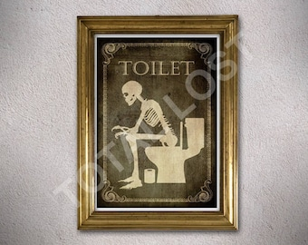 A4 Toilet print, Bathroom,Laundry,Bedroom,Kitchen,Office,Welcome,signs,posters,skull,home decor,skeletons,wall decor,gothic,library sign