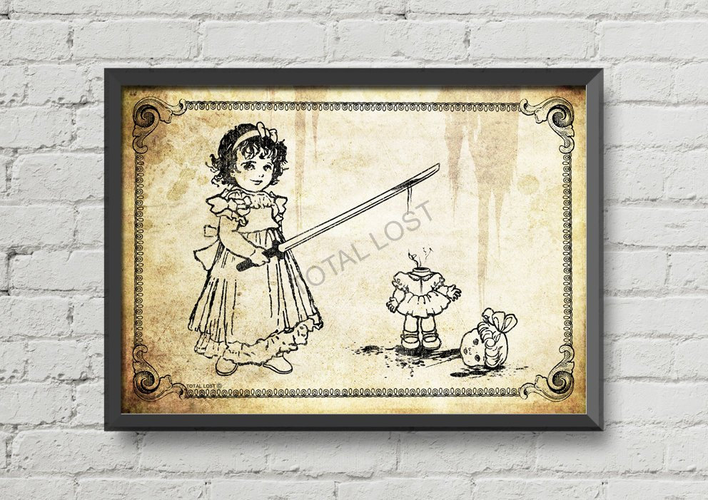 Girl playing with her doll,vintage poster,gothic art,gothic  decor,ornaments,dark art,bloody art,horror art,horror poster,gothic wall art
