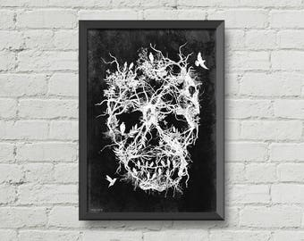 Skull tree,digital print,poster,original art,birds,black and white,horror,gothic,original art,wall decor,gothic art,illustration
