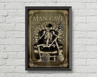 Man cave sign,skeletons,skull,wall art,men,man cave gift,poster,Home Décor,gothic,horror,beer,xbox,vintage,retro,gift,hipster,digital print