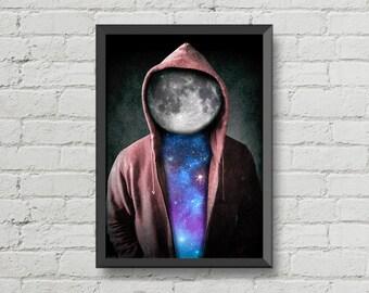 Space man,digital print,poster,artwork,space,moon,stars,cool,CHRISTMAS,galaxy,home decor