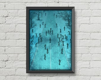 Zombies all around,movie poster,digital print,zombies,art,original art,geek,blue,gothic,poster,horror poster,wall decor