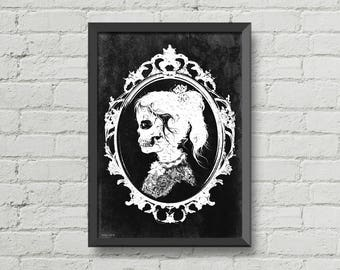Skull girl,victorian,black and white,macabre,gothic poster,art poster,wall decor,home decor,Rock and roll