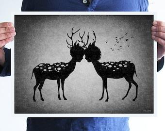 Deer love,digital print,artwork,art,wall decor,home decor,silhouette,black and white,gothic art,goth,victorian,horror,poster,print,skulls