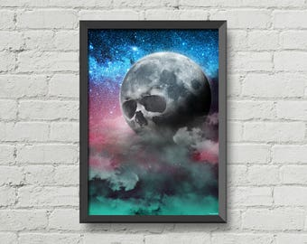 Skull moon,art,artwork,digital print,poster,home decor,moon,stars,galaxy,sky,night,space