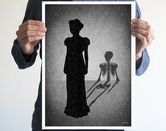 Skeleton shadow,digital print,artwork,art,wall decor,home decor,silhouette,black and white,gothic art,goth,victorian,horror,poster,print,
