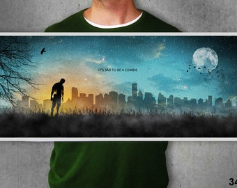 It's sad to be a zombie,print,poster,zombie,dead,city,moon,night,stars,art,artwork,gothic,christmas