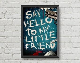 Scarface,poster,Al Pacino,movie poster,art,digital print,alternative,cocaine,mafia,gun,dollars,gangster