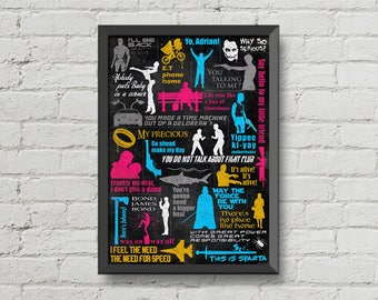 Movies quotes poster,typography poster,digital print,movie poster,quotes,wall decor,silhouette,man cave wall art,darth vader,fight club