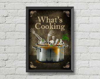 What's cooking,poster,wall decor,kitchen decor,kitchen art,home decor,Halloween,skulls art,skeletons art,art,digital print,Gothic,