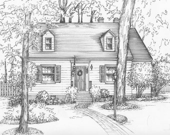 Custom Architectural Illustration In Ink Of Your Home Or Cottage House Portrait Black And White Sketch Drawing From Photo