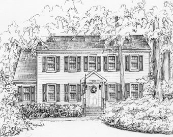Commission An Original Ink House Drawing Architectural Etsy