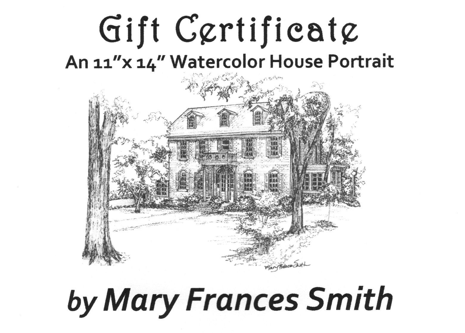 Gift Certificate for Custom Home Portrait
