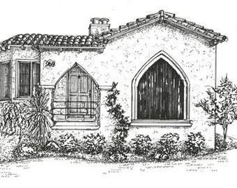 House Drawing,  Custom Ink Sketch,  portrait of your home, black & white, architectural rendering of your house or business