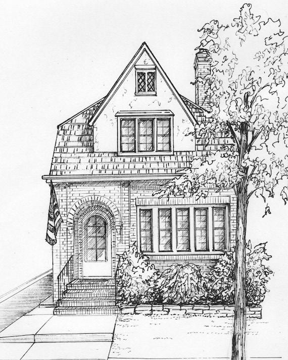 Haus gezeichnet in tusche 8 x 10 architektonische etsy for Fachwerkhaus skizze