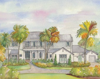 Custom House Painting, Your home painted in watercolor with ink detailing, house portrait, architectural sketch, Commissioned art