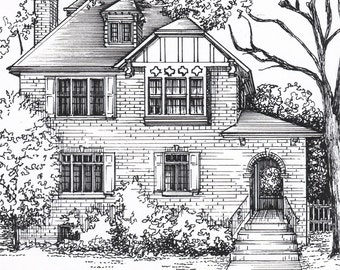 Custom House Sketch, hand drawn home portrait in ink, commissioned architectural drawing from photo