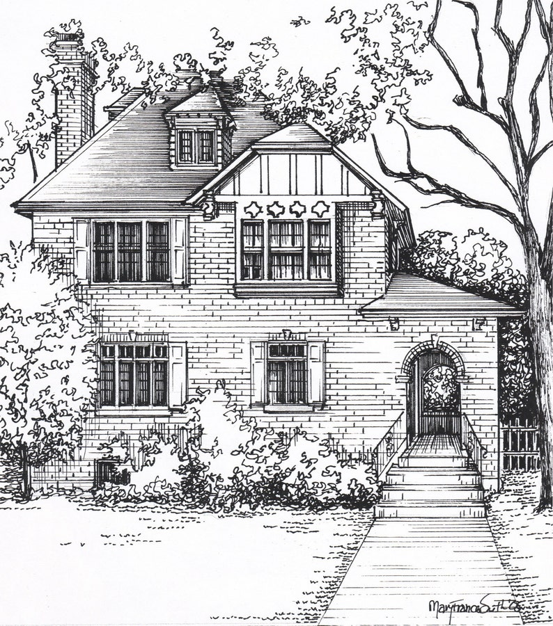 Custom House Sketch Hand Drawn Home Portrait In Ink Etsy