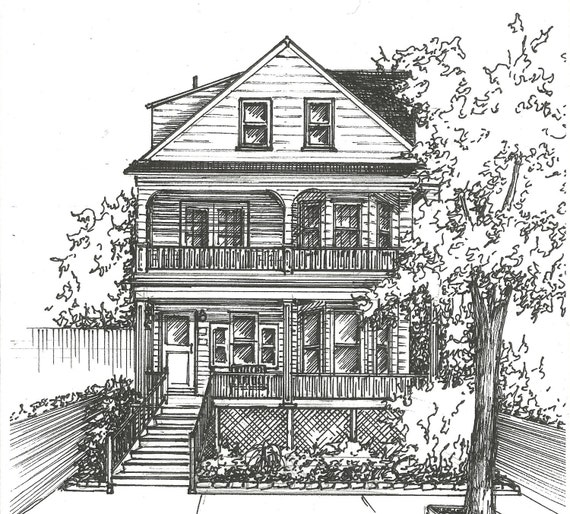 Commission an original ink house drawing architectural etsy for House sketches from photos