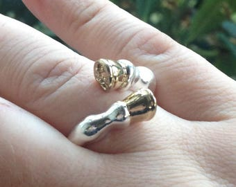 Horse Hoof Ring Gift Boxed - Gold and Silver color Equestrian fashion Animal Ring Adjustable Size