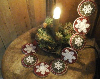 Snowflake penny rug garland style decor red white and green