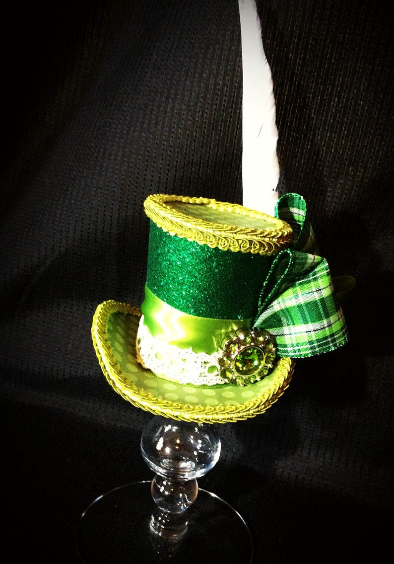 Green plaid polka dot and glitter mini top hat