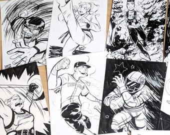 "Inktober Original Inked Art 6""x9"" Part 1"