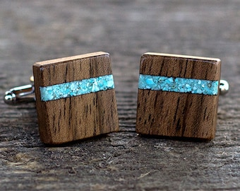 WALNUT Wood with turquoise inlay cufflinks | Wooden Cufflinks | Wedding cufflinks | Groomsmen Cufflinks| groom gift, gift for men