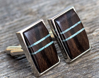 WOOD CUFFLINKS, Wedding Cufflinks, mens cufflinks, Groom Cufflinks, gift for men, groomsmen cufflinks,  EBONY with turquoise inlay