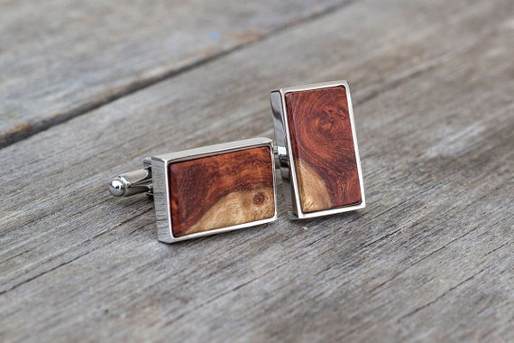 Mens Captain America Walnut Wood Cufflinks ..Wedding//Gift