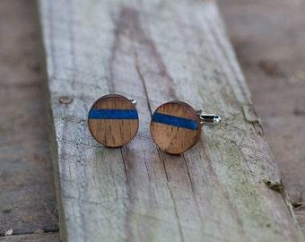 Wedding Cufflinks  | Groom Cufflinks | gift for men | groomsmen cufflinks |   WOODEN CUFFLINKS WALNUT Wood with Blue Lapis lazuli inlay