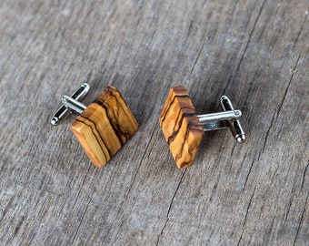 Gift for men, WOODEN CUFFLINKS, wedding cufflinks, Groom gift, groomsmen gift, gift for him, gifts for father, OLIVE Wood